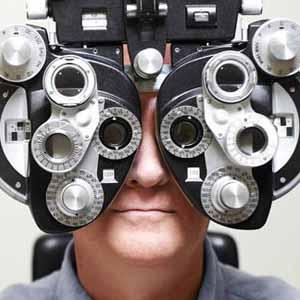 man receiving an eye exam
