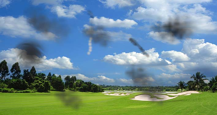 Illustration of Flashes and Floaters on golf course