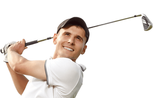 man with golf club no glasses after lasik surgery