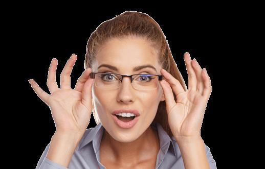 woman putting on new eye glasses