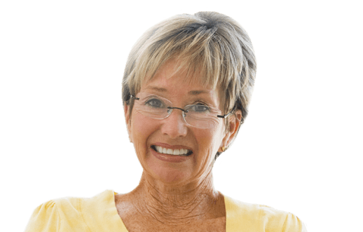 mature woman wearing glasses after retina treatments